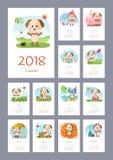 Kalender 2018-jährig mit Hund Lizenzfreie Stockfotos