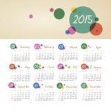 Kalender 2015-jährig mit Kreisen Lizenzfreies Stockfoto