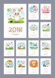 Kalender 2018-jährig mit Schafen Lizenzfreie Stockfotografie