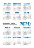 Kalender 2020-j?hrig Nett, als Teil Ihrer Auslegung zu verwenden Englischer vertikaler Taschenkalender Wochenanf?nge am Sonntag stock abbildung