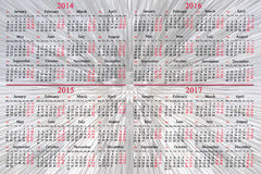 Kalender 2014 - 2017 jaar Royalty-vrije Stock Foto's