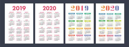 Kalender 2019, 2020 jaar Fundamentele vectorreeks Weekbegin op Sund stock illustratie