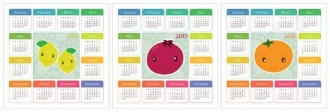 Kalender 2019 jaar Kleurrijke Engelse reeks Glimlachende vruchten, berrie Stock Afbeelding