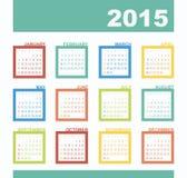 Kalender 2015 jaar met rechthoeken Royalty-vrije Stock Afbeeldingen