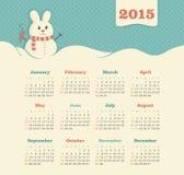 Kalender 2015 jaar met sneeuwman Stock Afbeeldingen