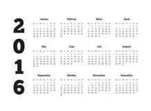 Kalender 2016 jaar op duitstalig, A4 blad Royalty-vrije Stock Afbeeldingen