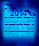 Kalender 2014, jaar van het Paard, illustratie Royalty-vrije Stock Foto