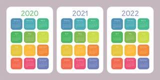 Kalender 2020, 2021, 2022 jaar Verticaal vectorkalenderontwerp royalty-vrije illustratie