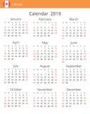 Kalender 2019 jaar voor het land van Canada royalty-vrije illustratie