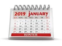 Kalender - Januari 2019 royaltyfri illustrationer