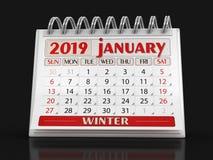 Kalender - Januari 2019 stock illustrationer