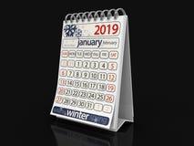 Kalender - Januari 2019 vektor illustrationer