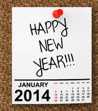 Kalender Januari 2014 stock illustrationer