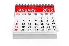 Kalender Januari 2015 royaltyfri illustrationer
