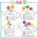Kalender 2015-januari, Februari, Maart, April Royalty-vrije Stock Afbeelding