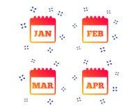 kalender Januari, Februari, mars och April vektor vektor illustrationer