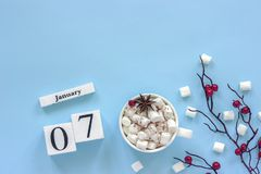Kalender Januari 7 Kop cacao, heemst en takbessen stock fotografie