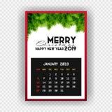 Kalender Januari van het Kerstmis de Gelukkige nieuwe jaar 2019 vector illustratie