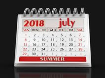 Kalender - Juli 2018 stock illustrationer