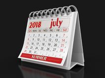 Kalender - Juli 2018 royaltyfri illustrationer