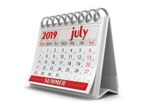 Kalender - Juli 2019 royaltyfri illustrationer