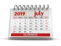 Kalender - Juli 2019 stock illustrationer
