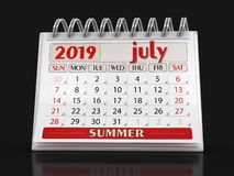 Kalender - Juli 2019 stock illustrationer