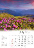 Kalender 2014. Juli. Stockfotografie