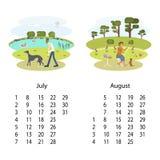 Kalender 2018 Juli Augusti royaltyfri illustrationer