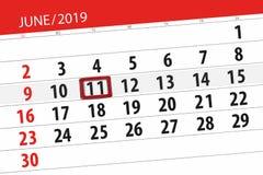 Kalender juni 2019, 11, dinsdag royalty-vrije stock afbeeldingen