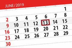 Kalender juni 2019, 13, donderdag royalty-vrije stock afbeelding
