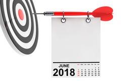 Kalender Juni 2018 med målet framförande 3d royaltyfri illustrationer
