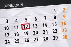 Kalender juni 2019, 12, woensdag royalty-vrije stock foto's