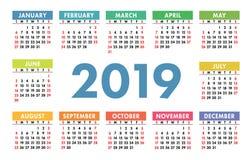 Kalender 2019 kantlagrar låter vara vektorn för oakbandmallen Engelsk kalender Färgrik uppsättning royaltyfri illustrationer