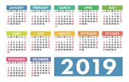 Kalender 2019 kantlagrar låter vara vektorn för oakbandmallen Engelsk kalender Färgrik uppsättning vektor illustrationer