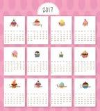 2017- Kalender-Karikatur-Bonbons Lizenzfreie Stockbilder