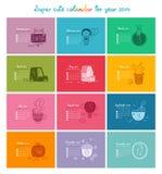 Kalender 2014 in kleur Stock Afbeeldingen