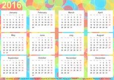 Kalender 2016 kleurrijke cirkels als achtergrond de V.S. Royalty-vrije Stock Afbeelding