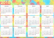 Kalender 2018 kleurrijke cirkels als achtergrond de V.S. Royalty-vrije Stock Foto's