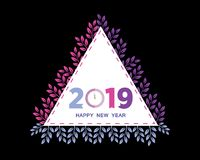 Kalender 2019 Kleurrijke Reeks Het begin van de week op Zondag Basisnet stock illustratie