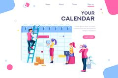 Kalender-Landungsdaten stellen Datenbank grafisch dar stockfoto