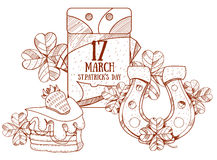 Kalender am 17. März StPatrick 's-Tag Goldenes Hufeisen, Kuchen Lizenzfreies Stockfoto