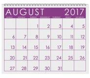 2017: Kalender: Månad av August In Summer royaltyfri illustrationer