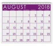 Kalender 2018: Månad av Augusti royaltyfri illustrationer