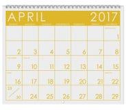 2017: Kalender: Månad av dagen för April With April Fool ` s Royaltyfri Bild