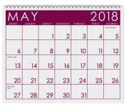Kalender 2018: Månad av Maj med dag för moder` s Fotografering för Bildbyråer