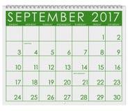 2017: Kalender: Månad av September med arbets- dag vektor illustrationer