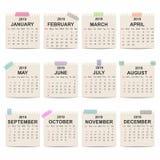 Kalender 2019 Månatlig kalendermall på gammalt papper Veckastarter på söndag stock illustrationer