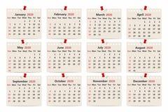 Kalender 2020 Månatlig kalendermall på gammalt papper Veckastarter på söndag royaltyfri illustrationer