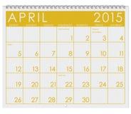 2015 Kalender: Maand van April Royalty-vrije Stock Foto